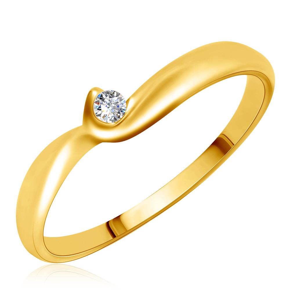 Кольцо из желтого золота с бриллиантом 1KPM142