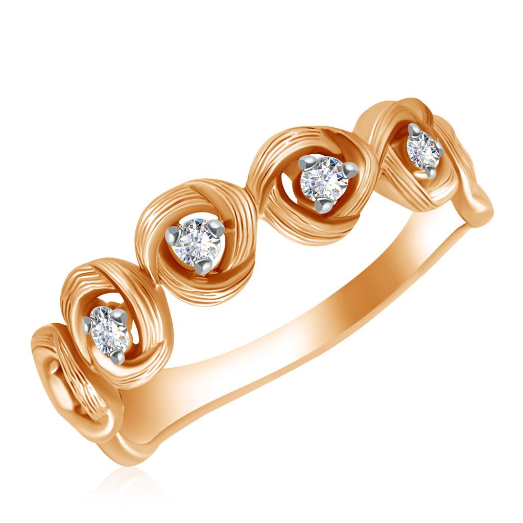 Кольцо из золота 1010940Кольца из красного золота<br>Артикул: 1010940 Металл: Золото Au 585 Вставка: Бриллиант<br><br>Артикул: 1010940<br>Металл, проба: Золото<br>Цвет металла: Красный<br>Вставка: Бриллиант