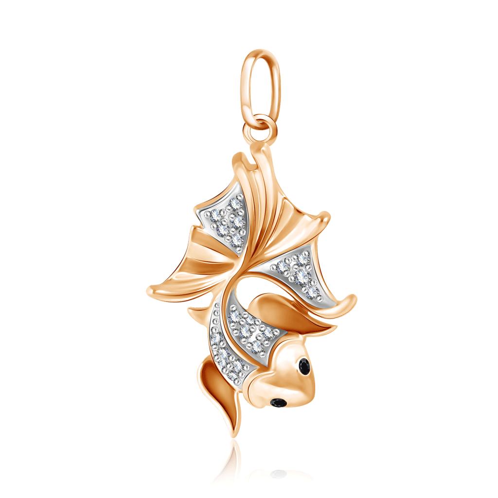 Подвеска Золотая рыбка из красного золота с фианитом Д0268-034889