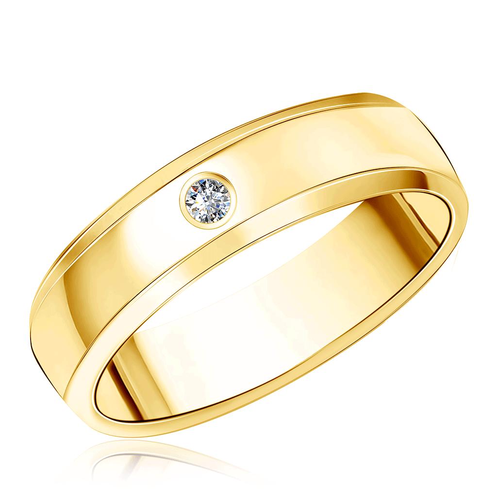 Золотое кольцо обручальное с бриллиантом 02К1059-