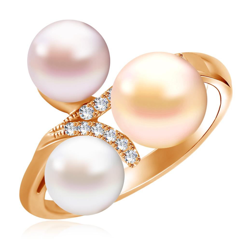 Купить Кольцо из красного золота с бриллиантами, жемчугом HOR31531