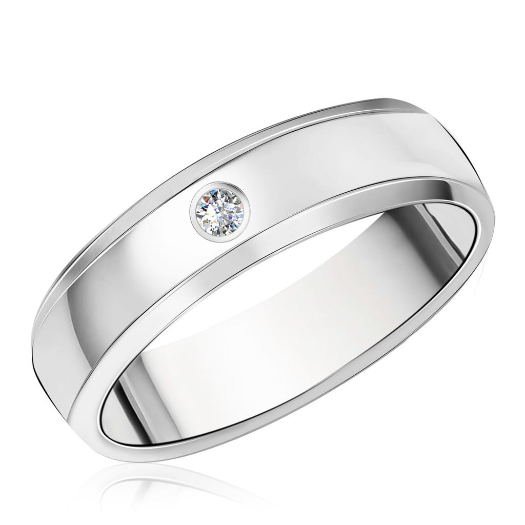 Купить со скидкой Кольцо обручальное из белого золота с бриллиантом 01К1059-