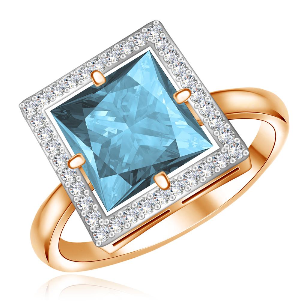 Кольцо из золота с топазом и фианитами 25615043