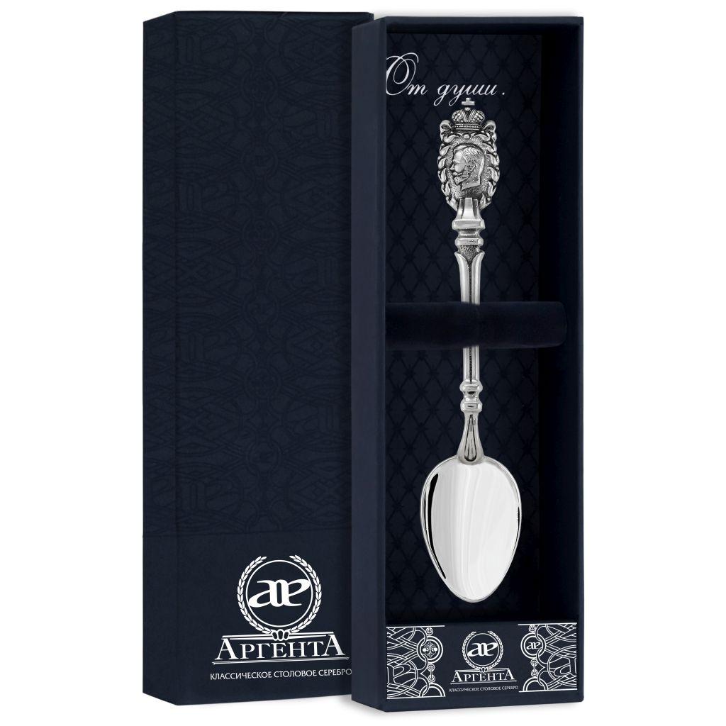 Серебряная чайная ложка «Николай II» 912ЛЖ03806