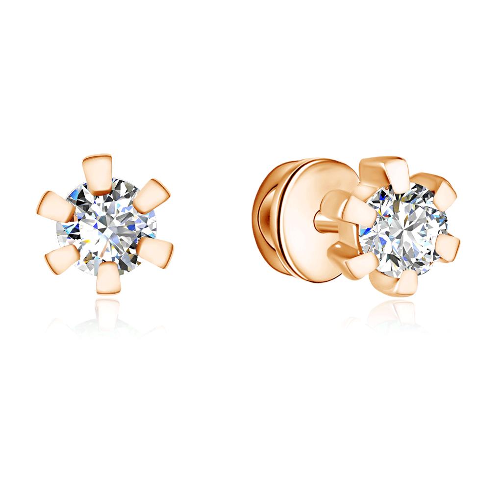 Золотые серьги-пусеты с бриллиантами 16119665000