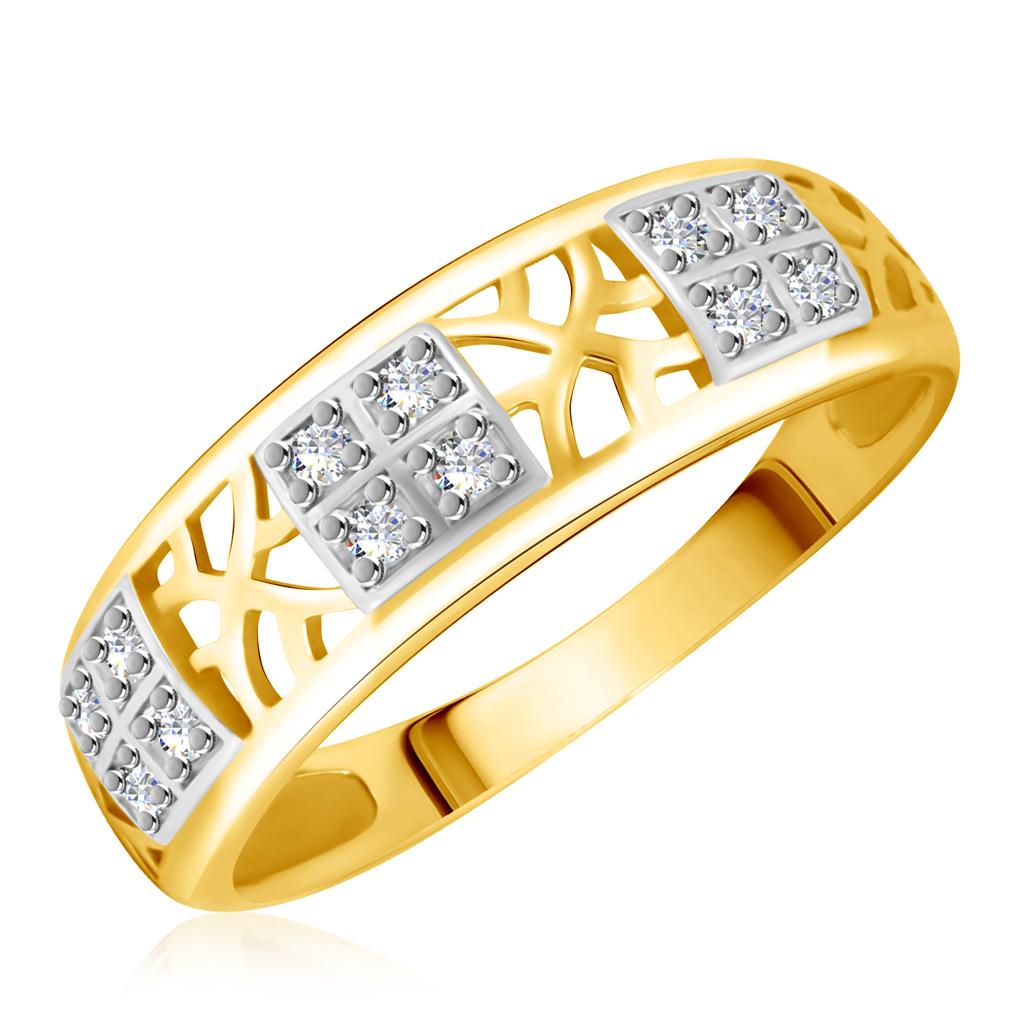 Купить со скидкой Кольцо из желтого золота с фианитами 25611414