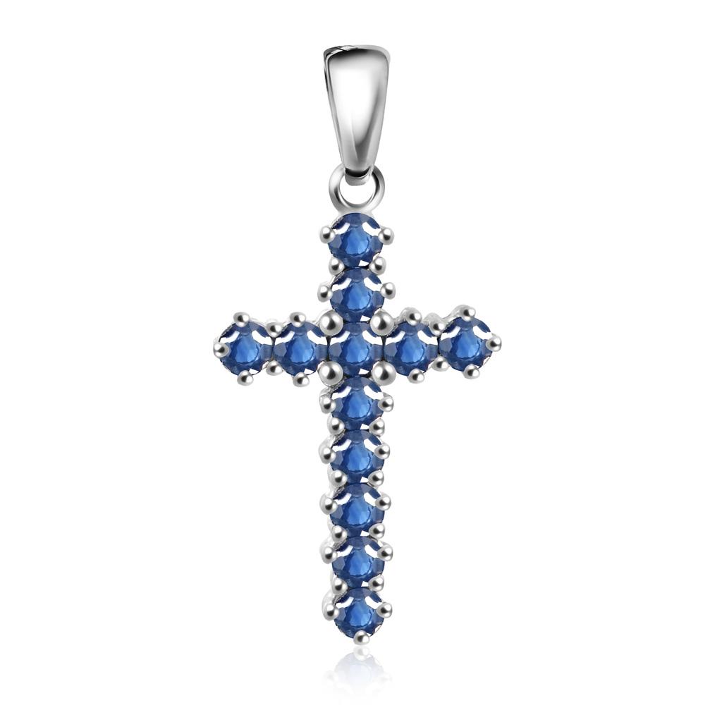 Крест из белого золота с сапфирами 1031224422