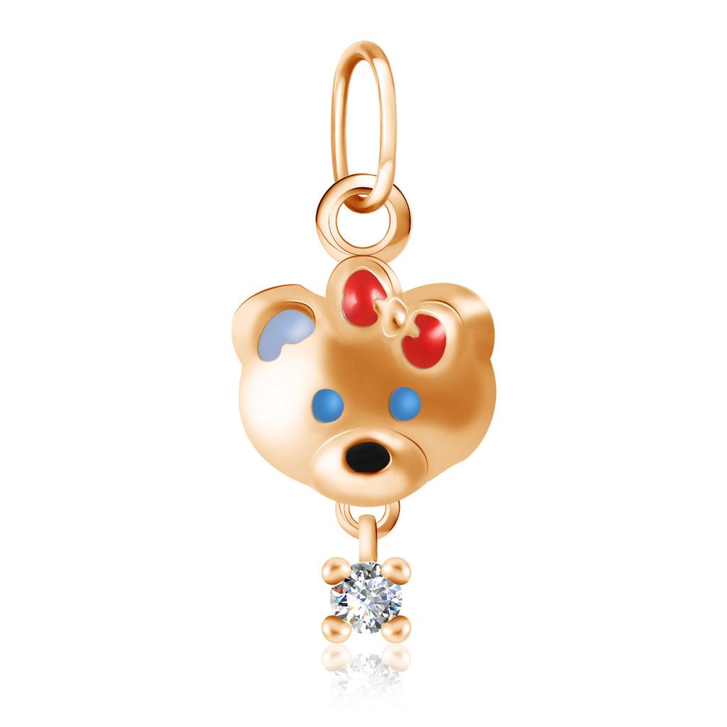 Подвеска детская из красного золота с эмалью Мишка Д0268-034747 цена