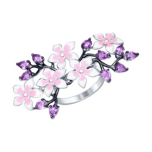 Купить со скидкой Кольцо из серебра с эмалью Розовые цветы 92011251