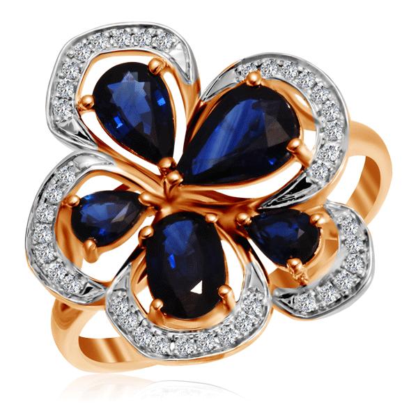 Золотое кольцо с сапфирами и бриллиантами 2010835