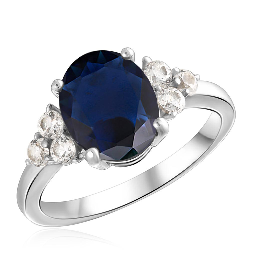 Кольцо из серебра с корундом, топазом R-DRGR00627-SP-T серебряное кольцо с корундом r drgr00620 sp