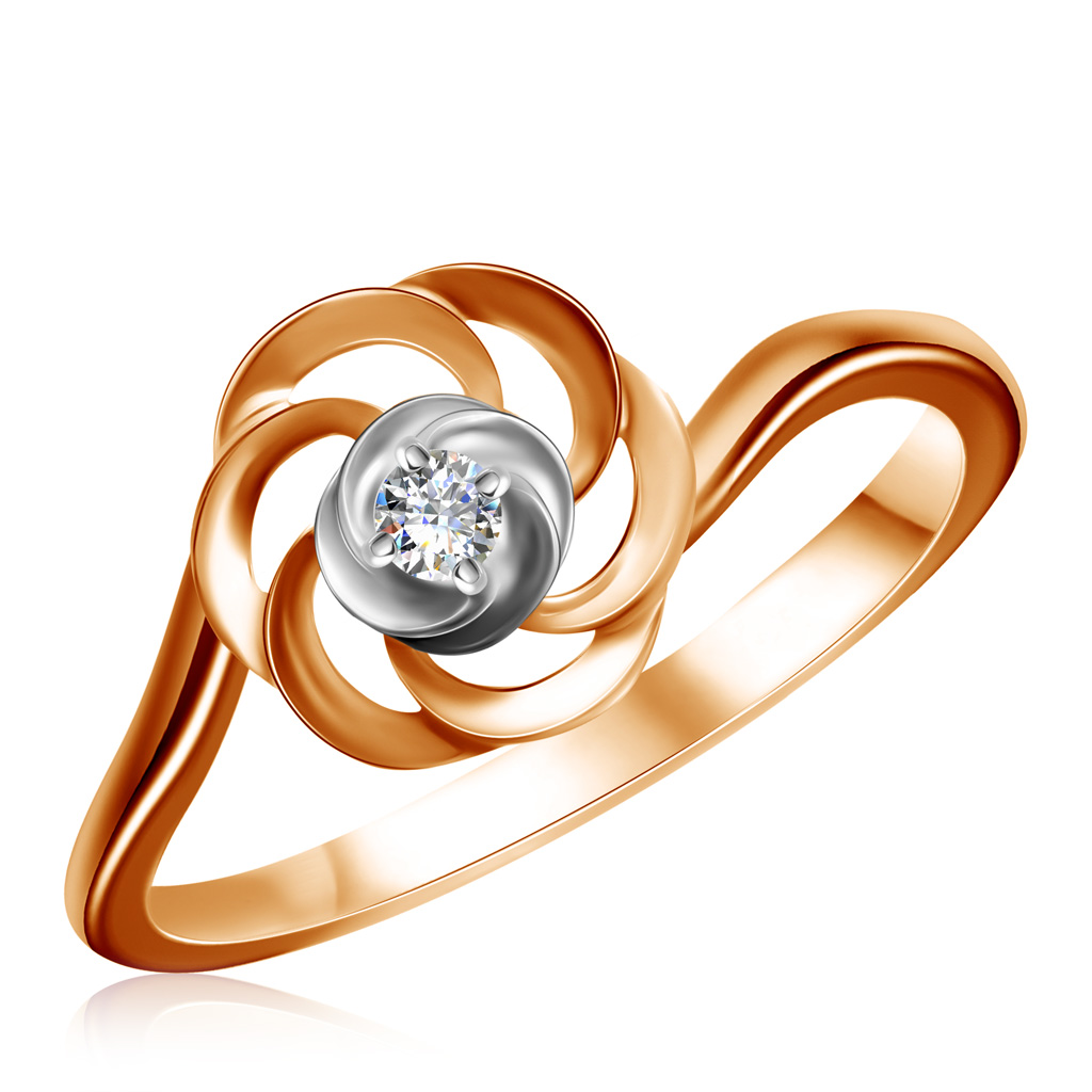 Купить Кольцо из красного золота с бриллиантом 1011418