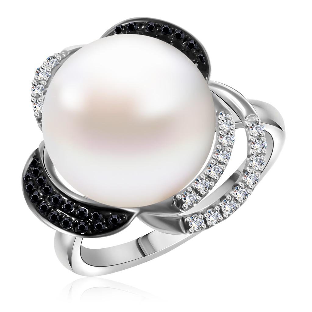 Купить Золотое кольцо с бриллиантами и жемчугом R458-D-27882BDPR