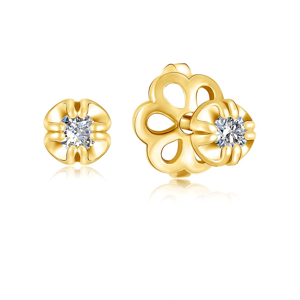 Серьги-пусеты из золота с бриллиантом 1EPC140