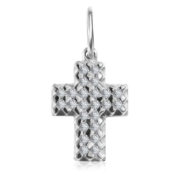 Купить со скидкой Золотой декоративный крест с фианитами 01Р120674
