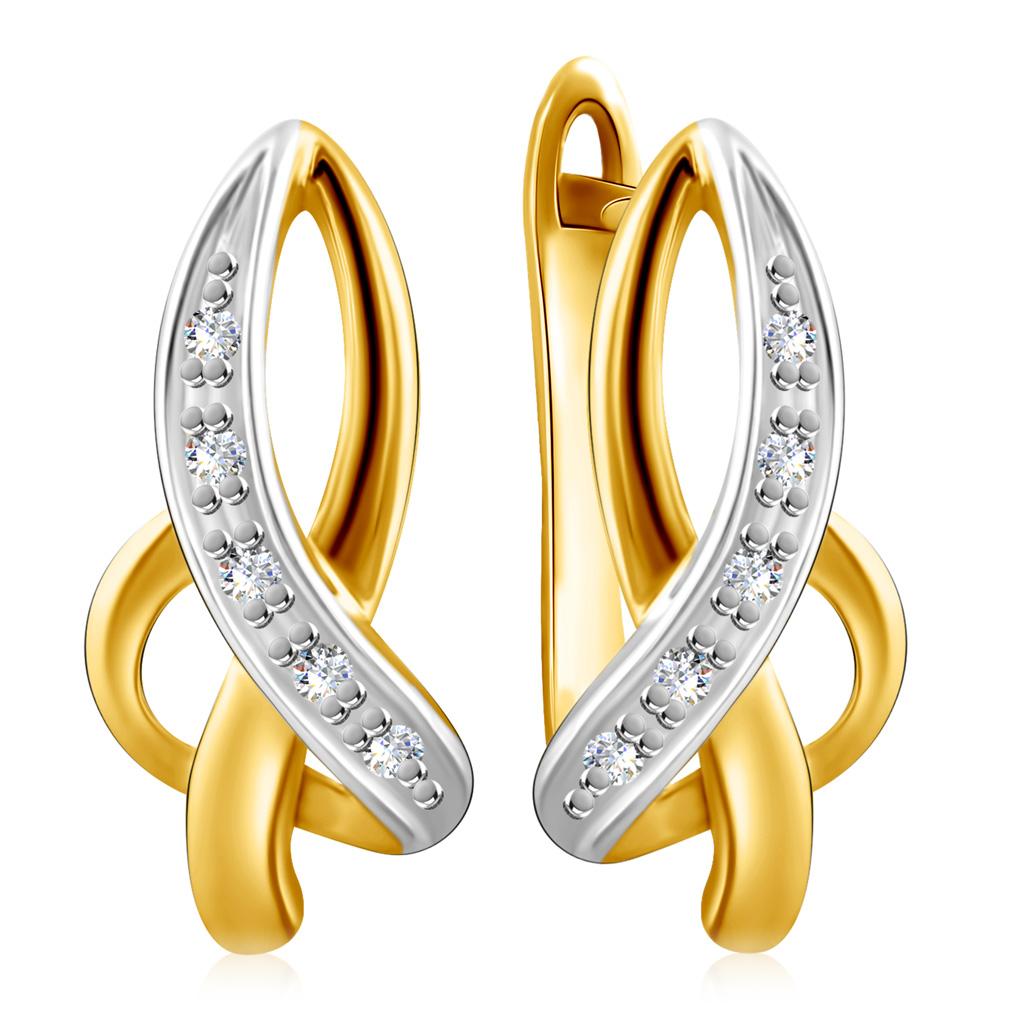 Серьги из золота с бриллиантами с английским замком PSE29723