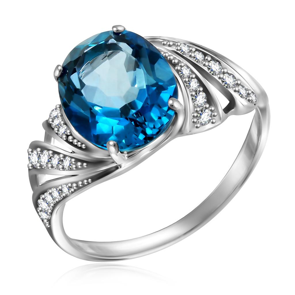 Купить Кольцо из белого золота с топазом и бриллиантами RD0000256205