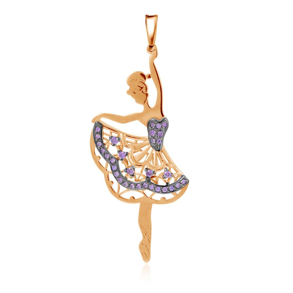 Золотая подвеска с фианитом Балерина Д0268-035318 золотая подвеска с фианитами дерево д0268 035074