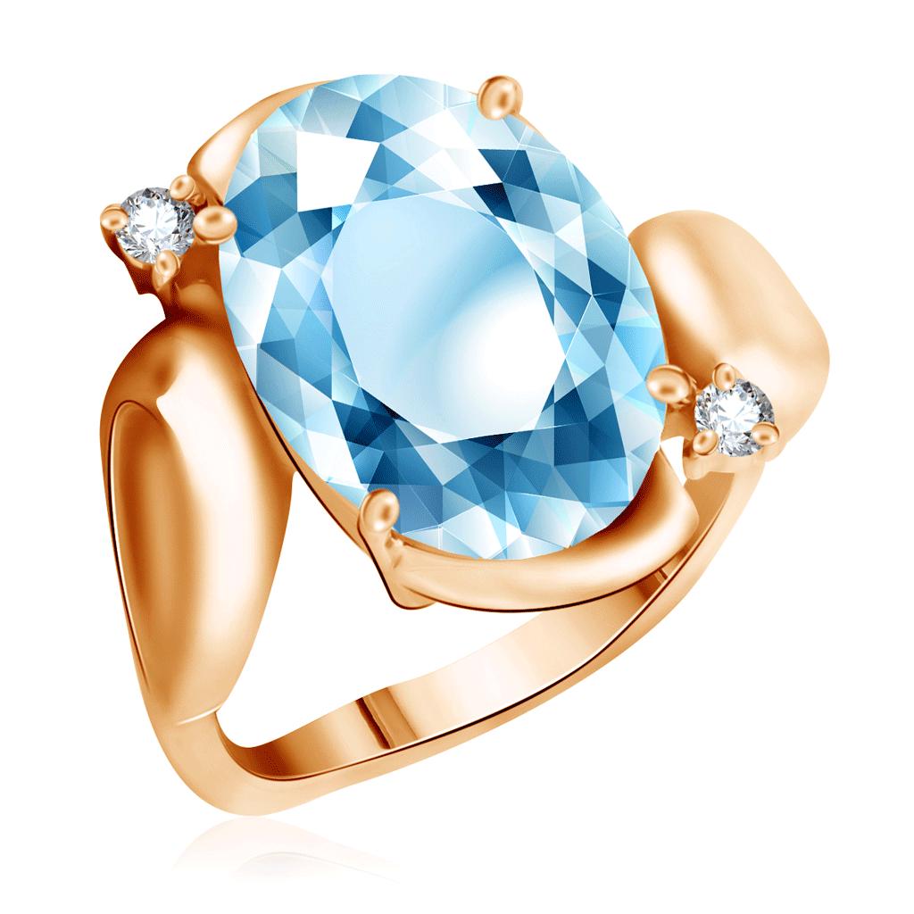 Золотое кольцо с топазом и фианитами 15616164