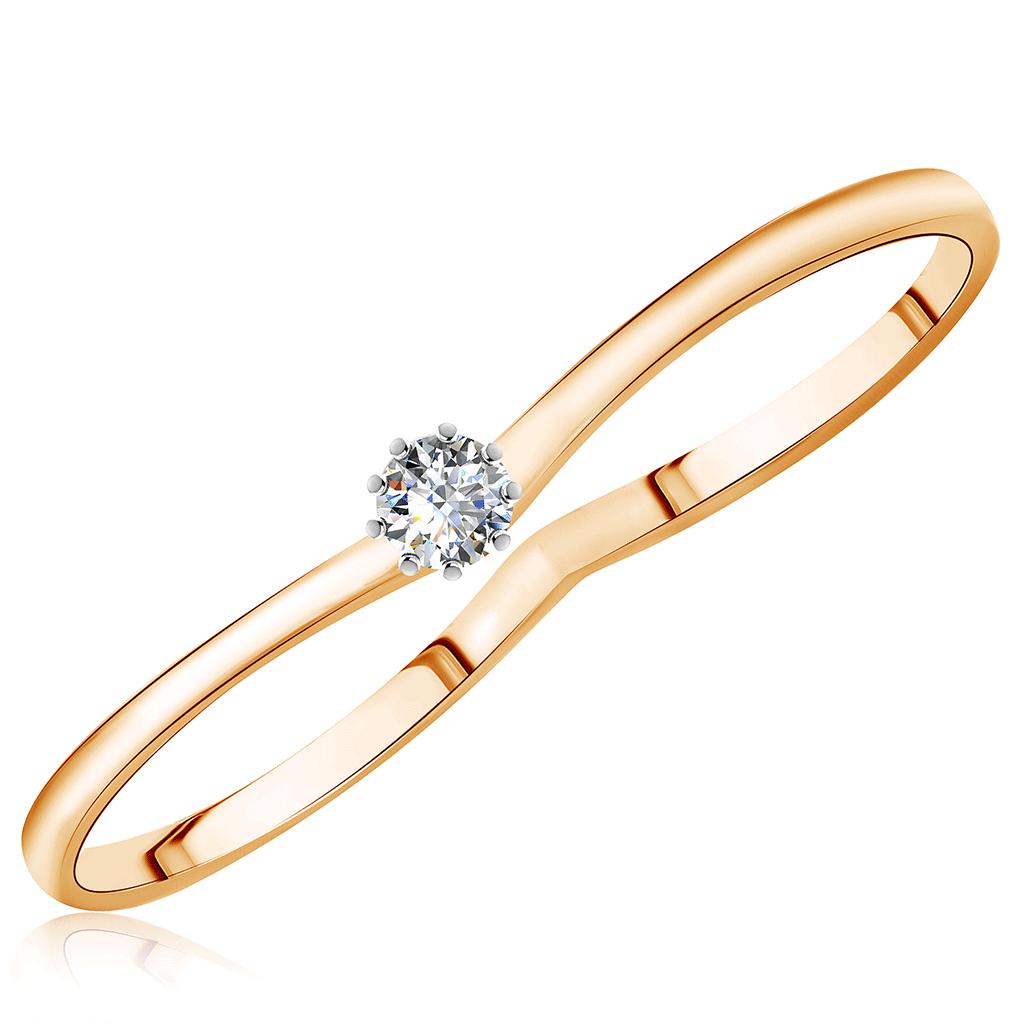 Золотое кольцо на два пальца с фианитом Д0268-017009 caviar jewellery кольцо на два пальца true love