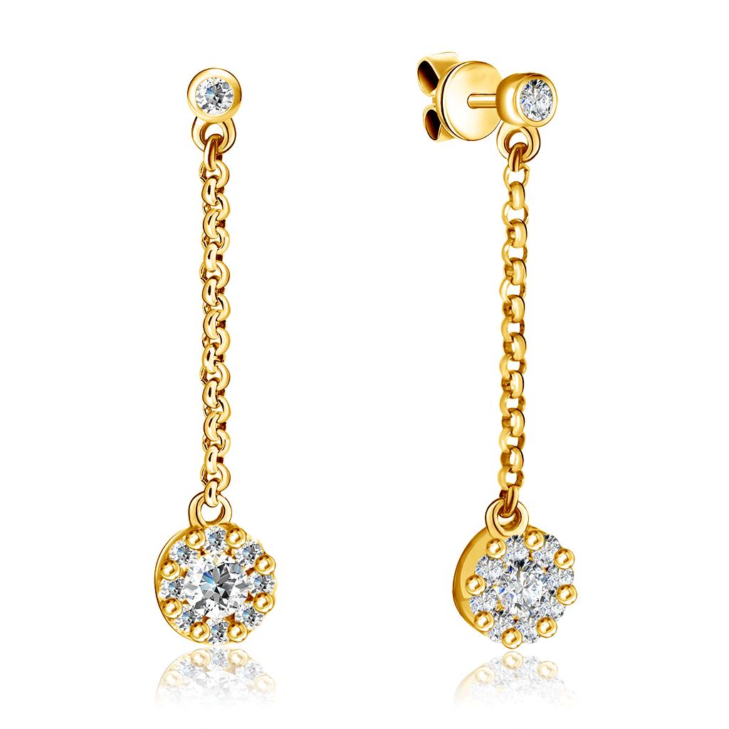 Золотые серьги-пусеты с бриллиантами K185205B
