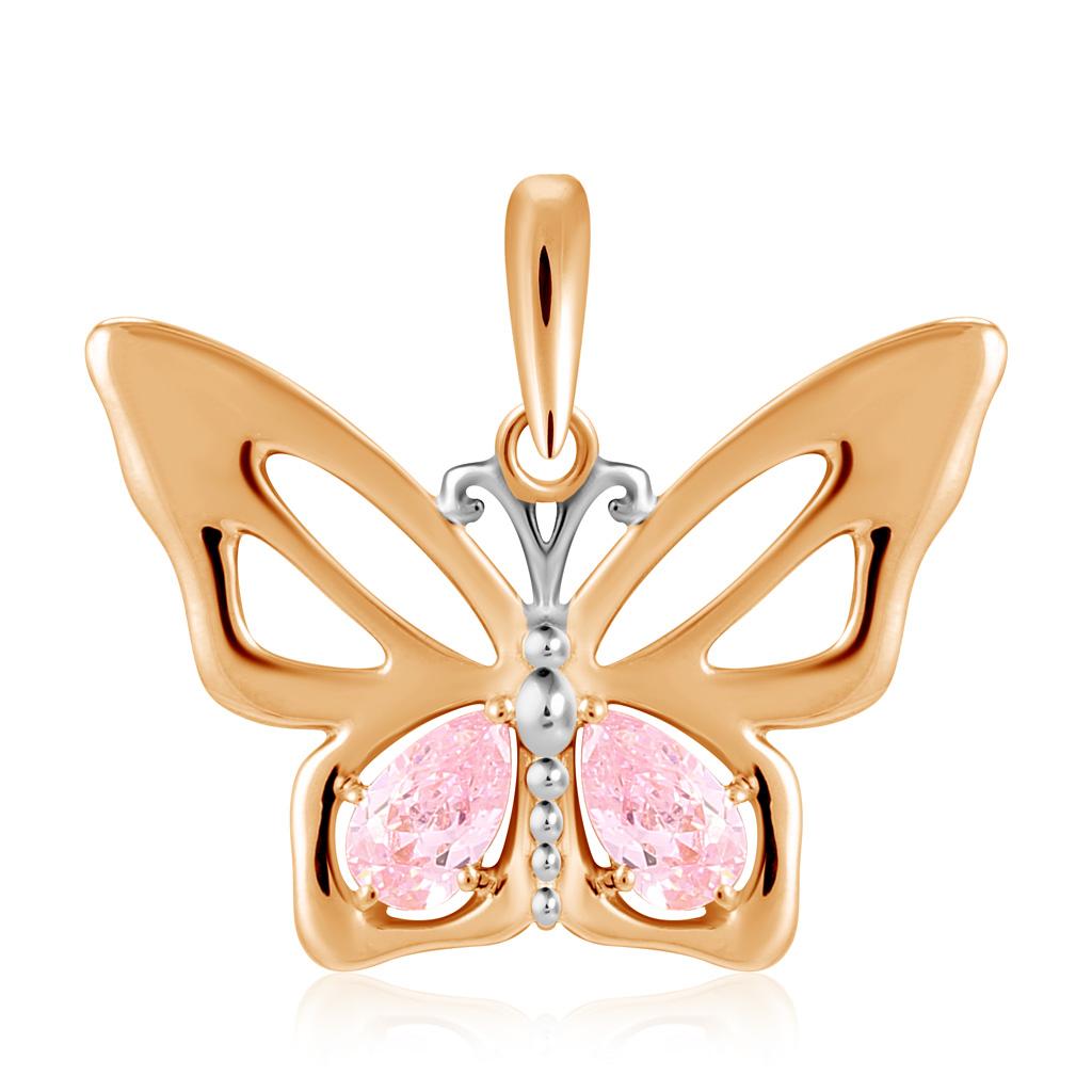 Купить Подвеска из золота с розовыми фианитами Бабочка P01-Z-59676-Z