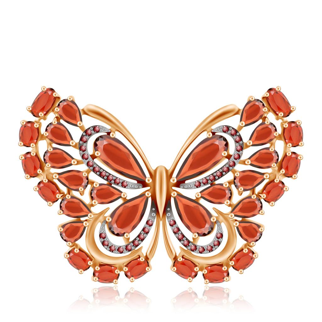 Купить со скидкой Брошь из красного золота с гранатом, фианитом Бабочка Д0268-740148