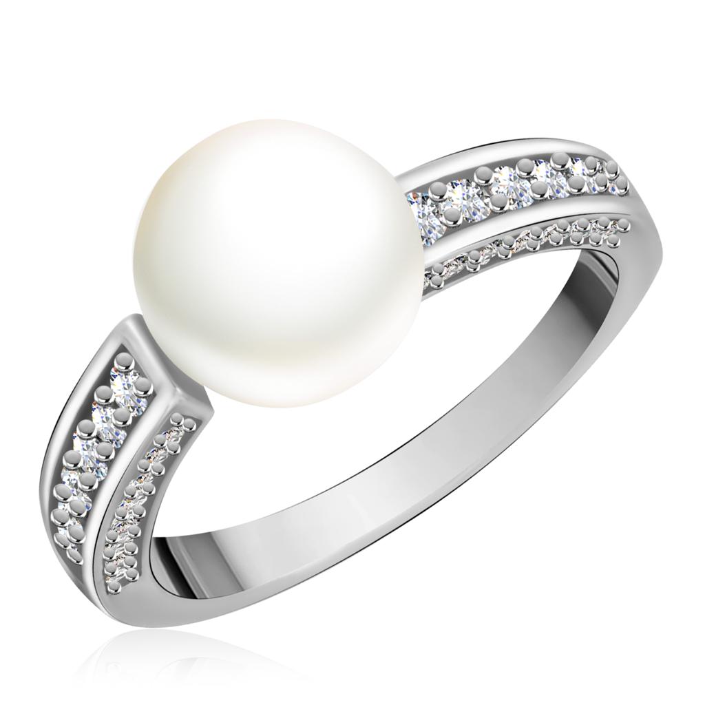Кольцо из белого золота с бриллиантами и жемчугом 200123-01