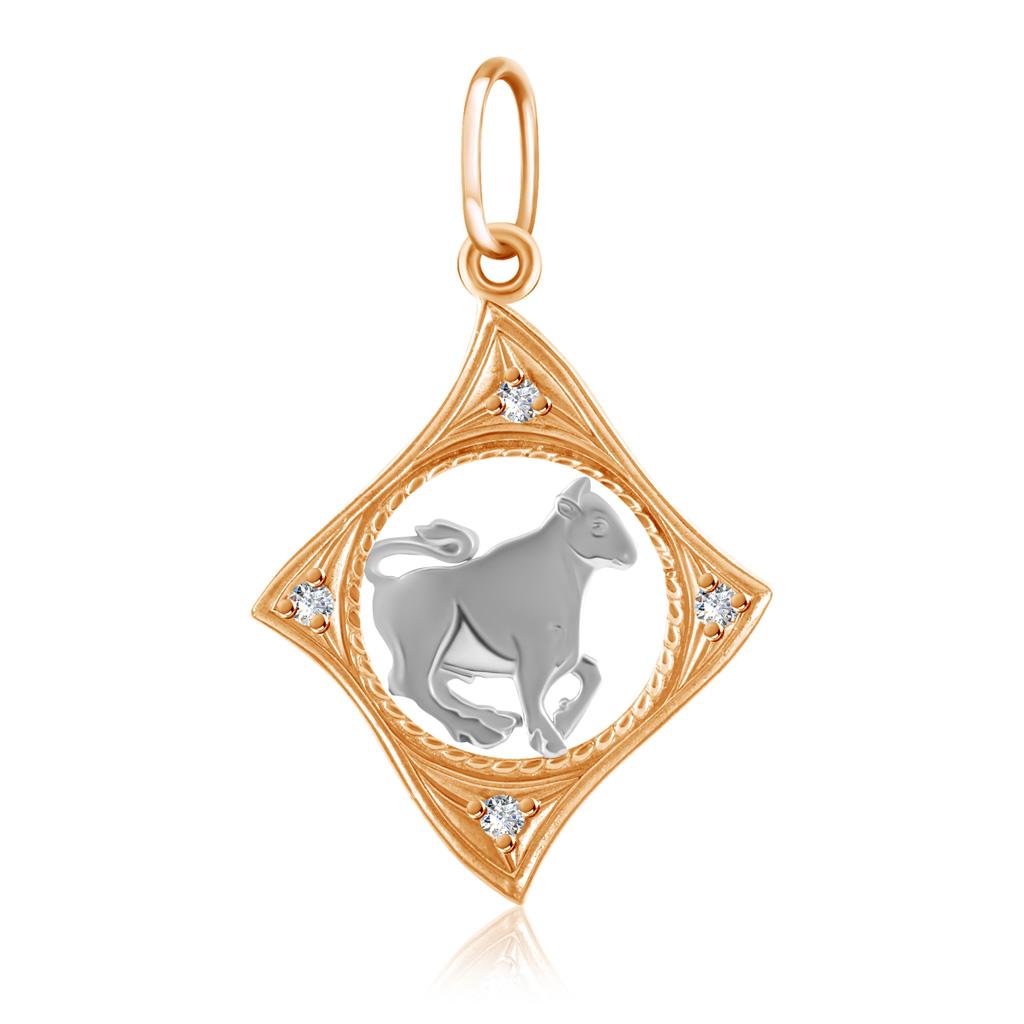 Подвеска знак зодиака Телец из золота с фианитами 27611042002
