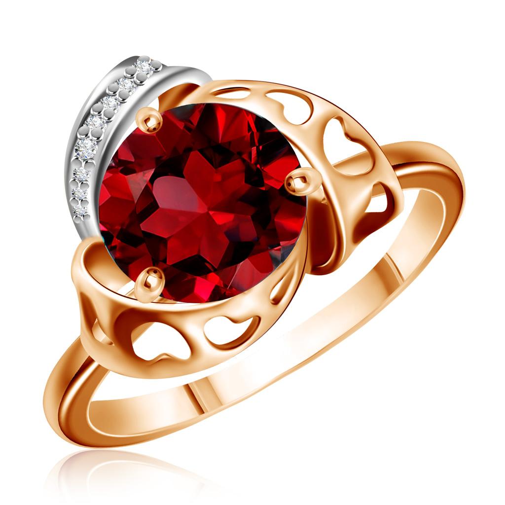 Золотое кольцо с гранатом и фианитами 712512