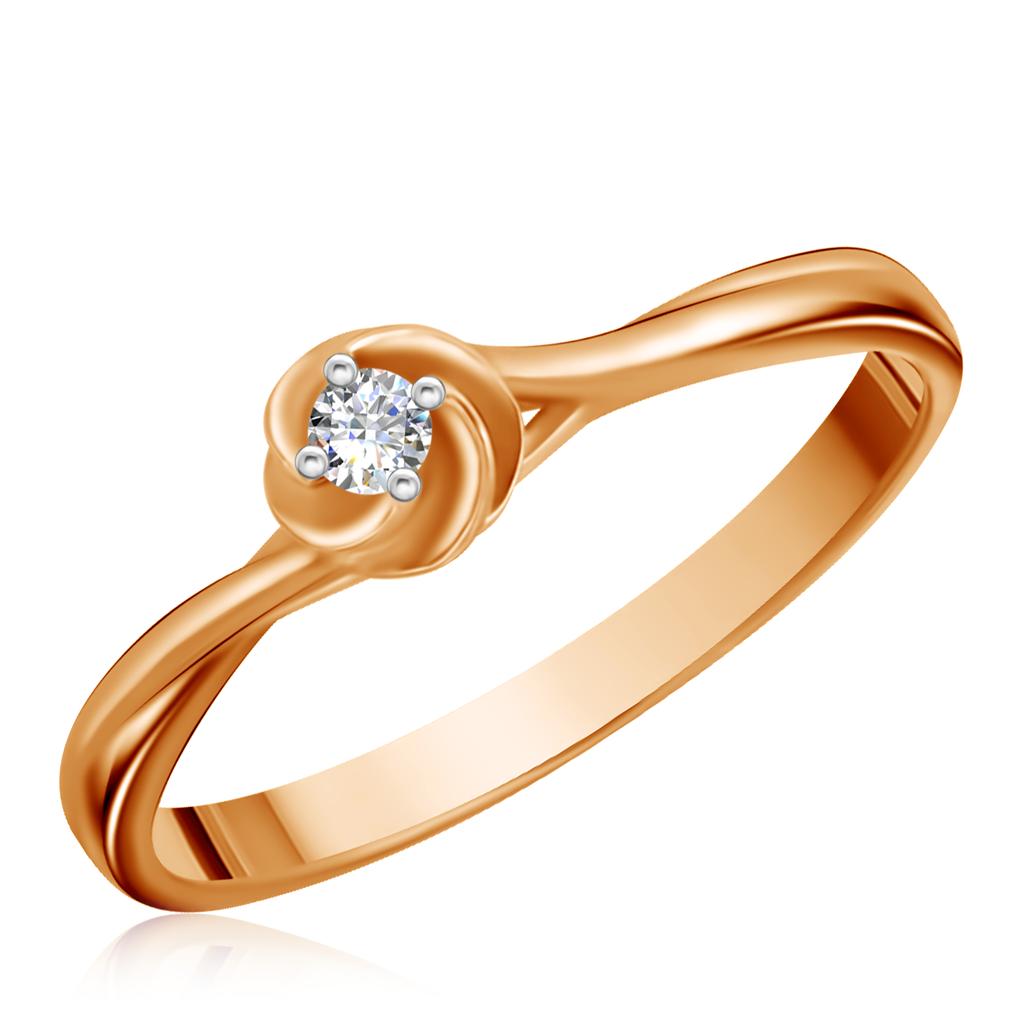 Купить Кольцо из красного золота с бриллиантом 1011368