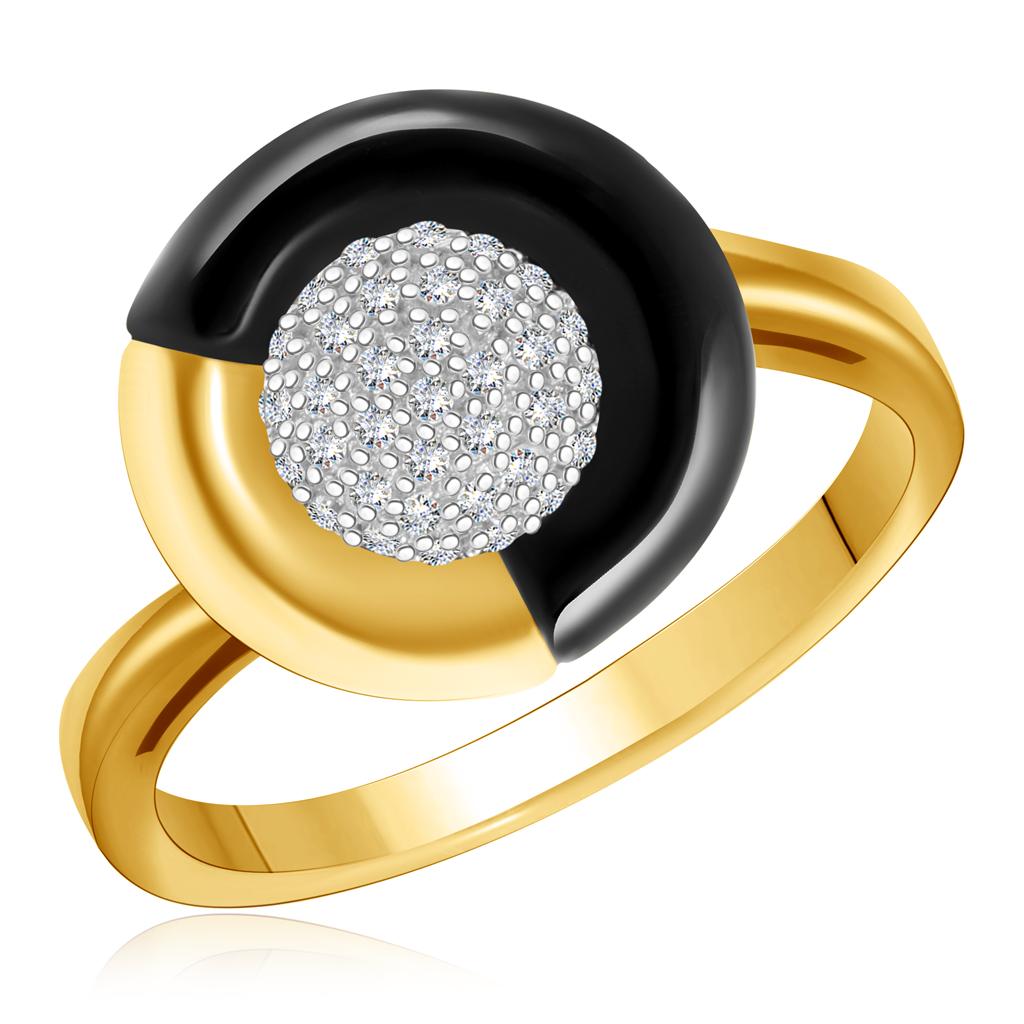 Золотое кольцо с ониксом и бриллиантами R431-D-LRAB3912OX