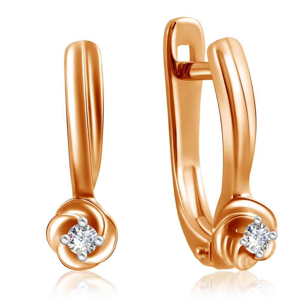 Золотые серьги с бриллиантами с английским замком 1020910