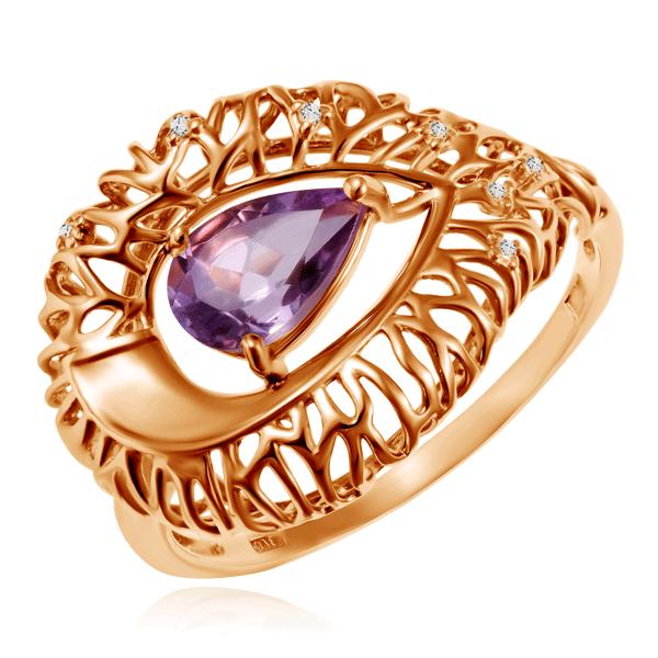 Кольцо золотое с аметистами 712745