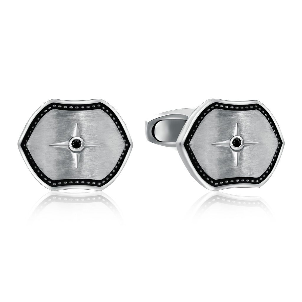 Купить со скидкой Серебряные запонки с сапфирами и эмалью 01Н550223Э