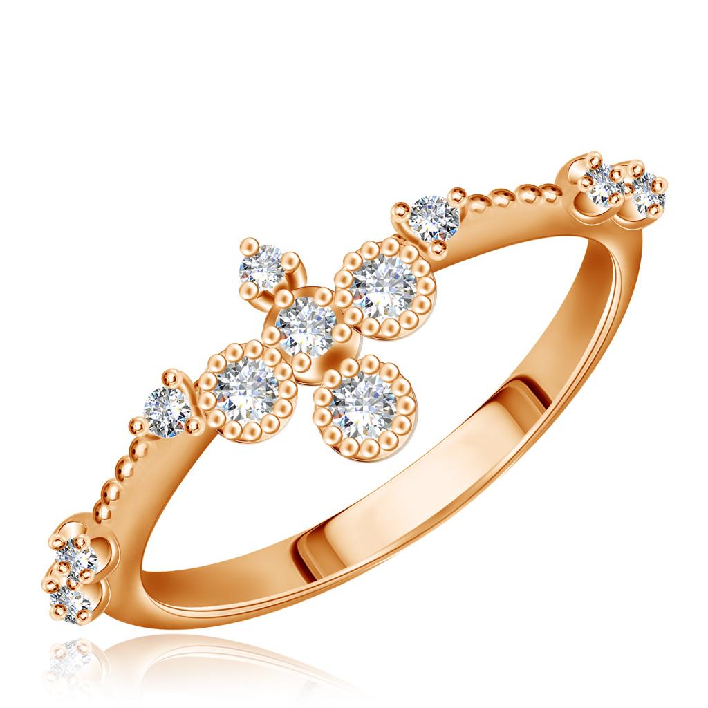 Золотое кольцо с фианитами 15611334