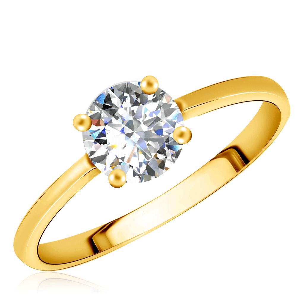 Купить со скидкой Кольцо из желтого золота с фианитом 55111591